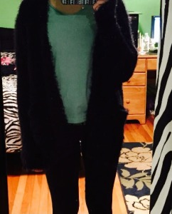 Schwennsfeir in sweater, yoga pants, and cute teal top (Photo by/ AHS sophomore Rhian Schwennsfeir)